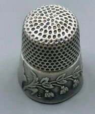 Ketcham & McDougall Victorian Sterling silver thimble with Flower Vine 4 grams