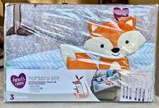 Parent's Choice Fox 3 Piece Baby Nursery Crib Set Nip Comforter Sheets Girl Boy