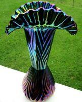 "Fenton Blue Iridescent Carnival Glass Crimped Fan Vase 11.5""T x 6.5""W Beautiful"