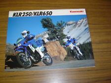 New listing 1992 Kawasaki Klr250 / Klr650.Nos Sales Brochure 4 Pg.Text English & French