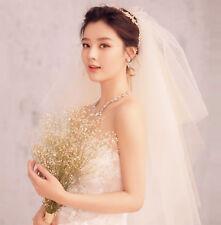 Women Lady Dark Ivory Bride champagne Beige Wedding Hair head Veil WITH COMB