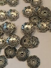 Bead Caps, Lot of 5, Silver/Pewter/Gold/Black, Fancy Scalloped, Swirl, Flowers