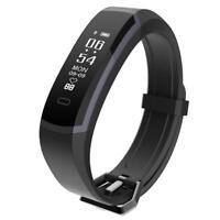 Fitness Tracker Waterproof Activity Heart Rate Step Counter Watch Slim Black