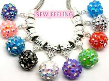50PCS Round Resin Rhinestone Beads Pendants Fit European Charm DIY Bracelet