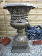 VASQUE EN FONTE PAT BRONZE + MOTIFS , jardinière , pot , vase