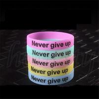 2pcs Unisex Never Give Up Luminous Bracelet Silicone Glow in the Dark Wristband