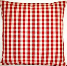"Red Checks Ian Mankin Fabric Cushion Cover Suffolk Checked Square 16"" CLEARANCE"