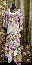 Vintage Elaborate Wearable Art 1980s Handmade Patchwork Crochet Dress