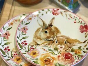 Set of 2 Grace's Fine Ceramics Easter Bunny Floral Dinner Plates New!