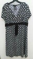 George Sz XL 16-18  Black White Dots Dress V-neck Short Sleeves Career B280