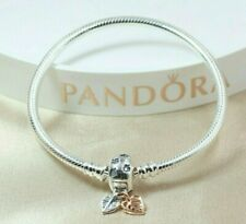 Pandora -19cm Moments Leaves & Snake Chain Charm Bracelet 588333CZ + Pandora Box