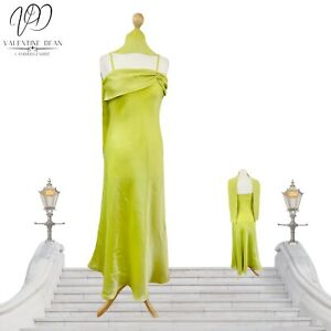 Retro Women Evening Gown Neon Green Strappy Long Flare Dress Size 12 Uk