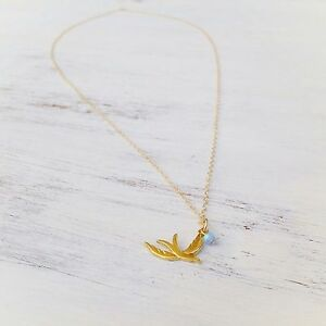 Bird Opal Necklace Pendant 14K Yellow Gold Filled OPAL Charm Necklace
