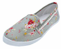 LADIES GREY FLORAL CANVAS FLAT SLIP-ON PLIMSOLL PUMPS COMFY CASUAL SHOES UK 3-8