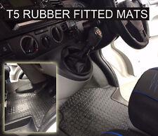 VW Transporter T5 Van Rubber Floor Mat Tailored (2003 on) Black Button Rubber