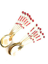 Set of 12 Embellished Spoons for Turkish Coffee or Espresso Gold with Red Design