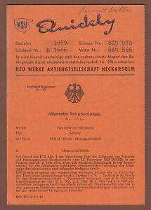 Moped NSU Quickly Betriebserlaubnis 1959 original Stück