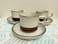 3 x Denby Pottery Potters Wheel Tea Cups & Saucers, 1970s Retro Mid-Century