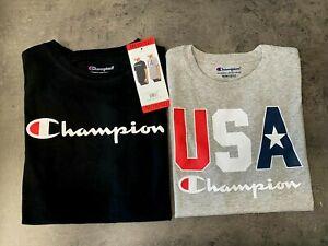 NEW Champion Youth Boys 2-pack Short Sleeve T-Shirts Black/Gray M,L,XL Logo Tee