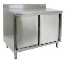 "14"" X 48"" Stainless Steel Storage Dish Cabinet - Sliding Doors W/ Back Splash"