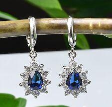 Luxury Dangling Earrings 18K White Gold GP Deep Blue Swarovski Crystals