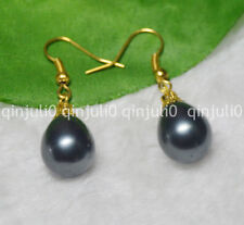 12x16mm Black South Sea Shell Pearl Yellow Gold Plated Hook Earrings JE81