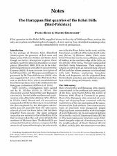 The Harappan flint quarries of the Rohir Hills (Sind-Pakistan)