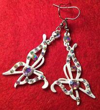 Retro Revival Fantasy White Enamel Rhinestone Butterfly Earrings