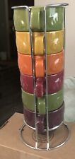 World Market Stackable Coffee Mugs Wire Holder Set Of 6