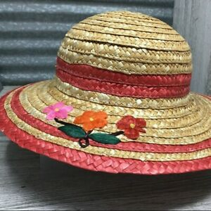 """Straw Hat Woven 2.5"""" Brimmed Girls Dark Pink Bands Multi Colored Flowers Red"""