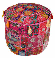 Indien Ethnic Patchwork Cotton Pouf Cover Handmade Round Beige Ottoman Cover