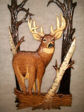 Hand Carved WHITETAIL BUCK Wall Art Chainsaw White-tailed deer Wood Carving