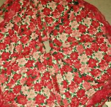 """Handmade Vintage Quilted Christmas Tree Skirt Poinsettias 58""""D Beautiful Mint"""