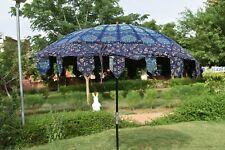 """Indian Blue Peacock Mandala Cotton Garden Umbrella Outdoor Patio Sun Parasol 80"""""""
