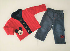 GEORGE Mickey Mouse Bay Boy Sweater & Jeans Outfit size 6-9 months