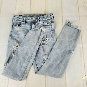 American Eagle Outfitters Women's Jeans Low Rise Distressed Light Wash Size 8