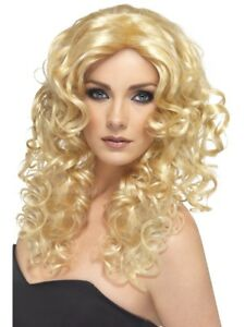 Long Curly Blonde Wig Ladies Curly Glamour Fancy Dress Wig