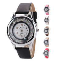 Fashion Crystal Rhinestone Leather Band Charm Women Lady Quartz Wrist Watch Gift