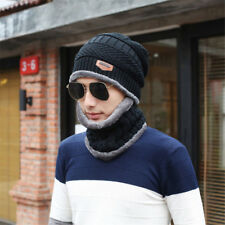 Unisex Men Camping Hat Winter Beanie Baggy Warm Wool Ski Scarf Cap Fleece Line