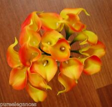 LATEX REAL TOUCH CALLA LILY ORANGE YELLOW WEDDING BOUQUET ARTIFICIAL 18 HEAD