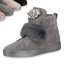 Damen Sneakers Kunstfell Schuhe Sneaker High Strass Freizeitschuhe 819399 Top