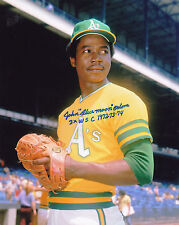 """JOHN """"BLUE MOON"""" ODOM  OAKLAND A'S  3 X WSC 1972-73-74   ACTION SIGNED 8x10"""