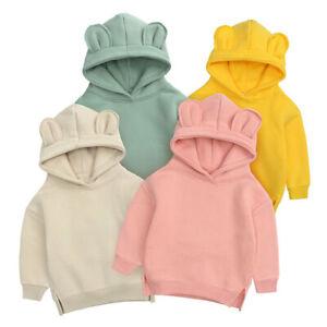 Kids Hoodie Plain Casual Boys Girls Hooded Sweatshirt Jumper Pullover Top