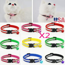 New listing 2 Safety Nylon Dog Puppy Cat Collar Adjustable Cats with Bell Reflective Collar