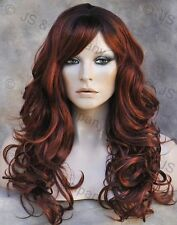 Long Wavy Curly Layered Red mix w bangs WIG WACA sangria