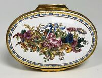 Large Halcyon Days English Enamels Wallace Collection Floral Oval Trinket Box