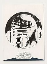 2016 TOPPS STAR WARS THE FORCE AWAKENS TWO R2-D2 SKETCH 1/1 BOB STEVLIC