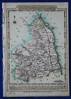 Original antique map, NORTHUMBERLAND, COLDSTREAM, HEXHAM, J. Wallis c.1814