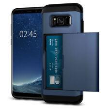 Navy Blue Credit Card Holder Slim Shockproof Cover Case For Samsung Galaxy S8+