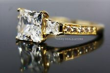2.45 CT VVS/D Princess Cut Engagement Wedding Ring Real 14k in Yellow Gold